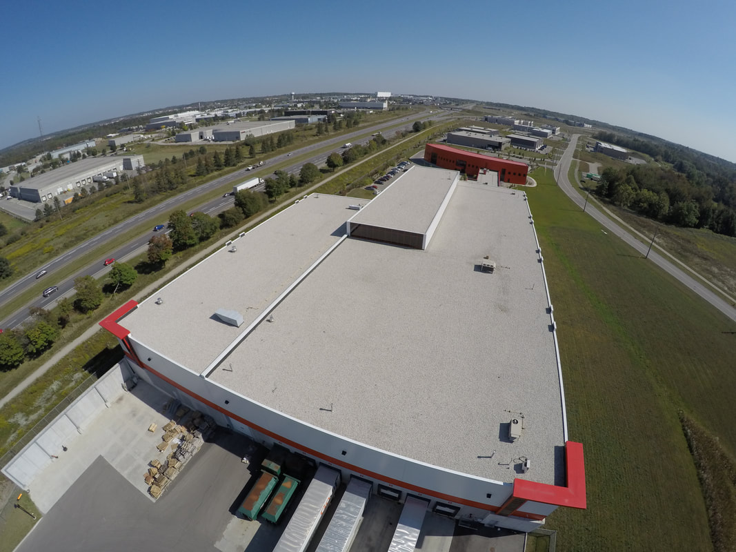 Aerial photo of a commercial flat roof